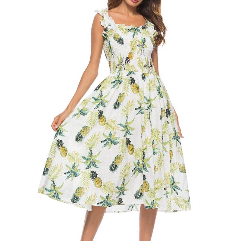 Pineapple Print 2018 Summer Women Mid-Calf Beach Dress Ruffles Spaghetti Strap Camis Dresses Elastic Casual Vacation Dreses