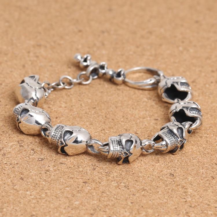 Handcrafted Thailand 925 Silver Skeleton Bracelet Vintage Sterling Silver Skull Head Bracelet Pure Silver Man Bracelet цена 2017