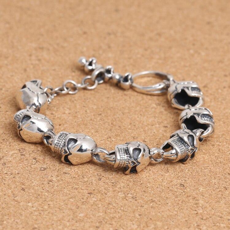 Handcrafted Thailand 925 Silver Skeleton Bracelet Vintage Sterling Silver Skull Head Bracelet Pure Silver Man Bracelet
