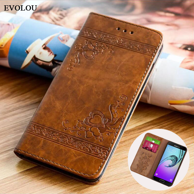 Flip Wallet Leather Case for Samsung Galaxy A7 2017 A5 A3 Cover Embossed Flip Book Cases for Samsung A5 A3 2016 A310 A510 Bag
