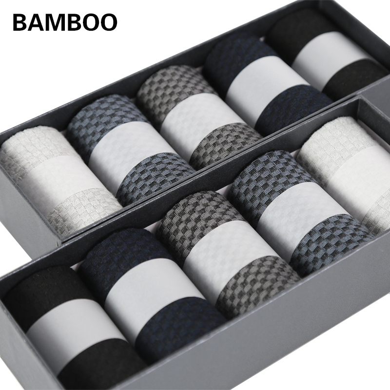 10 Pairs/Lot High Quality Men Bamboo Fiber   Socks   Happy Man Dress   Socks   Male Winter Warm Long   socks   Black Stockings For Gift
