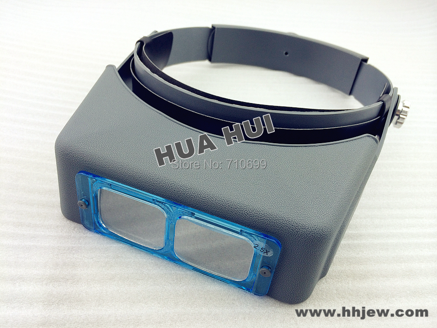 Free shipping Double-lens Head-Wearing Magnifier Binocular Optical Glass 1.5X 2X 2.5X 3.5X jeweler light tools, Loupes tools