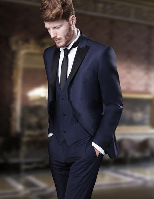 Italian Style Navy Blue Groom Tuxedos Slim Fit Mens Wedding Party Suits Groomsman Suit Bridegroom Attire