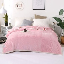 3 Layer Soft Warm Thick Quilted Blanket Solid Color Pink Camel Blue Grey Double Winter With Microfiber Filling