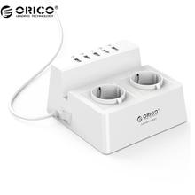 ORICO ODC-2A5U-V1 интеллектуальная подзарядка Desktop Зарядное устройство с 2 розетки переменного тока и 5 Порты USB для телефонов, iPhone 7, таблетки и настольных компьютеров