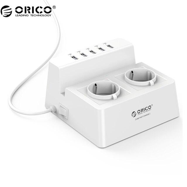 Orico odc-2a5u-v1 inteligente de carga cargador de escritorio con 2 salidas de ca y 5 puertos usb para móviles, iphone 7, tabletas y de escritorio