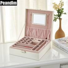 PEANDIM Luxury Double Layer Jewelry Storage Box Crocodile Leather And Big Mirror Organizer Rings Bracelets Makeup Cask Best Gift