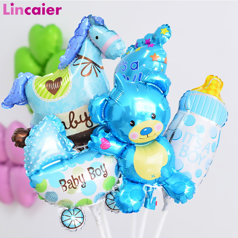 5pcs Mini Cute Baby Shower Foil Balloons Babyshower Boy Girl Photo Booth Props Accessories Gender Reveal Party PhotoBooth Kits