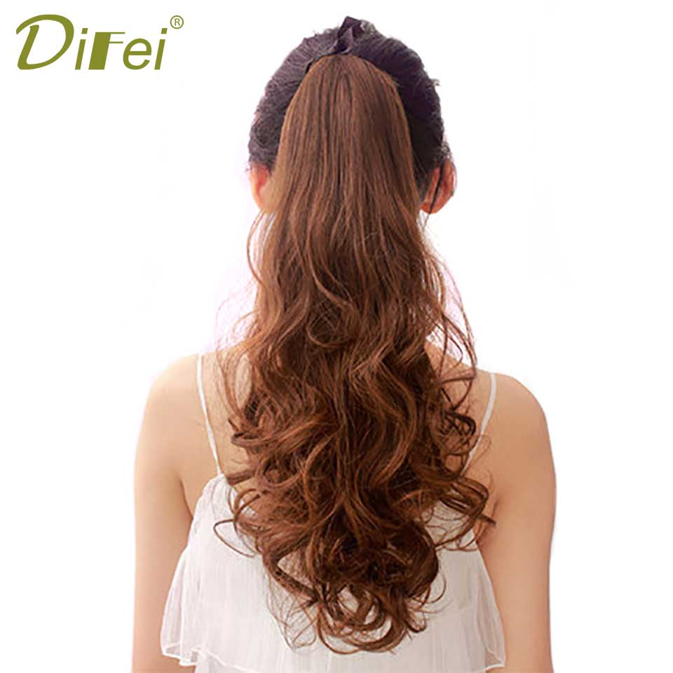 18 100g High Temperature Fiber Long Wavy Synthetic Wrap Around Hairpieces Fake Hair Ponytail Extensions DIFEI