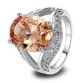 lingmei Wholesale Gorgeous Morganite & Garent & White CZ  Silver Ring Size 7 8 9 10 Fashion Women Bridal Wedding Engagement