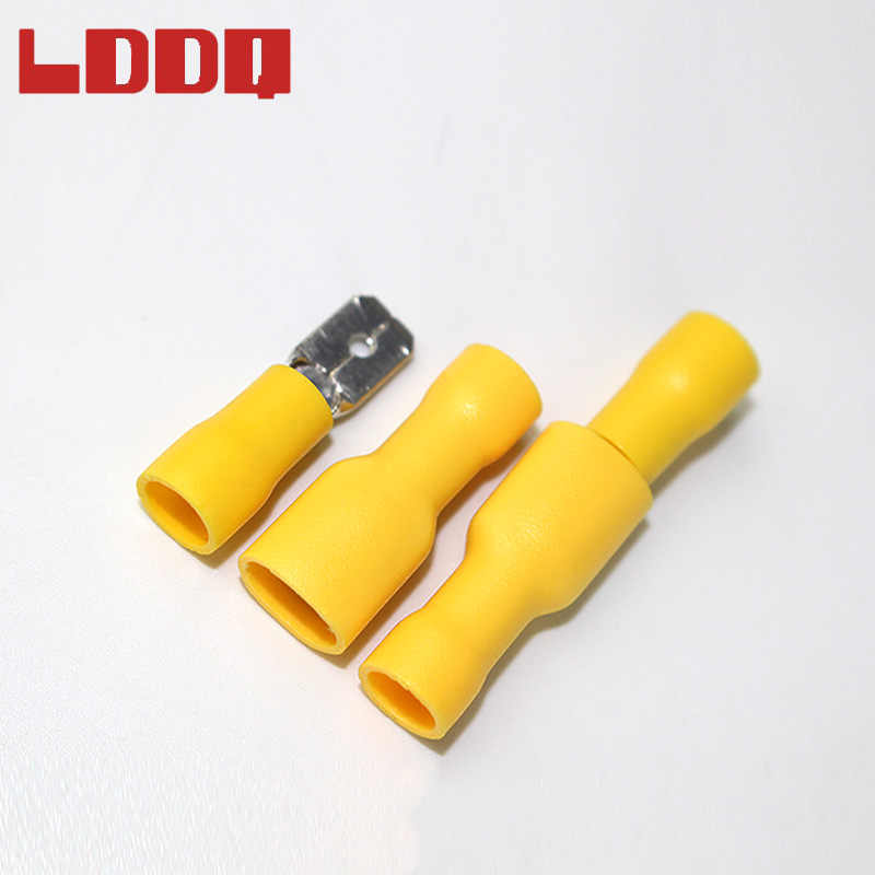 LDDQ 100pcs Mixed Insulated Spade Crimp Terminals 40pcs Red 40pcs Blue 20pcs Yellow Electrical Wire Connector Male/Female Kit