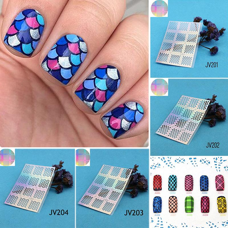 New 6 Sheet Hollow Design Nail Stamping Plates Vinyls Decal Manicure