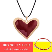 Statement Big Red Heart Pendant Necklace for Women Simple Black Leather Chain Gold Necklace Geometric Fashion Jewelry Party Gift