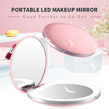 купить LED Mini Makeup Mirror 1X 3X Magnifying Handheld Collapsible Portable Small Mirror Micro USB Rechargeable Lighting Makeup Mirror дешево