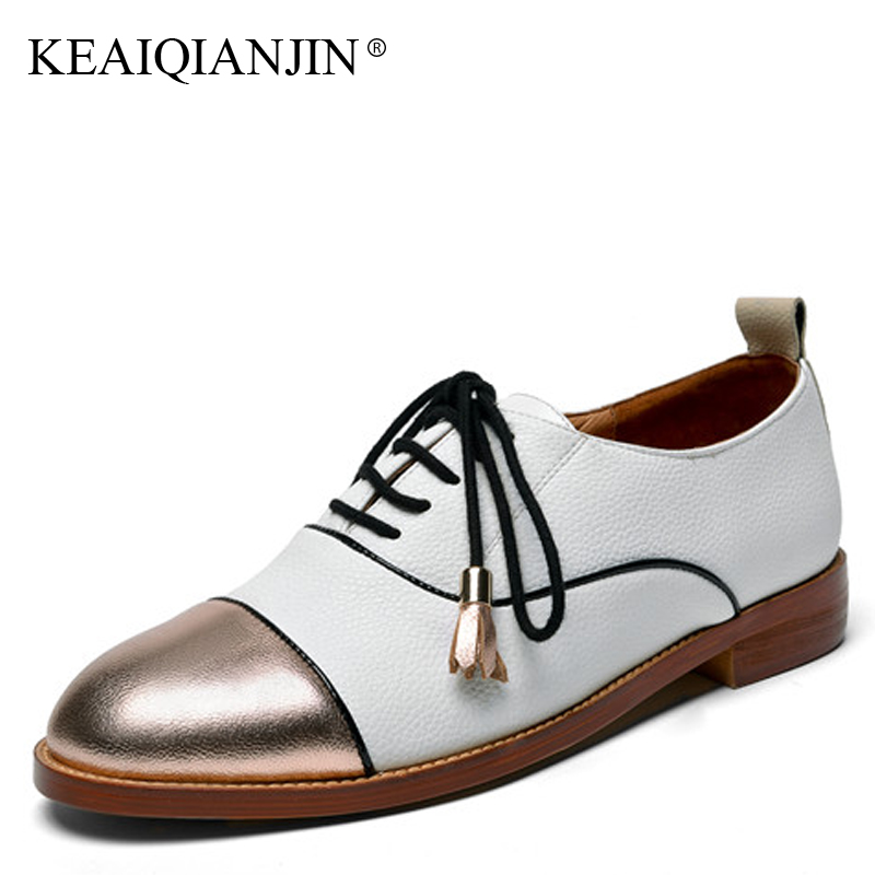 KEAIQIANJIN Woman Golden Derby Shoes Spring Autumn Black kLace Up Flats Fashion Personality Genuine Leather Brogue Shoes 2018 keaiqianjin woman sheepskin flats black red silvery plus size 33 41 spring autumn derby shoes lace up genuine leather shoes