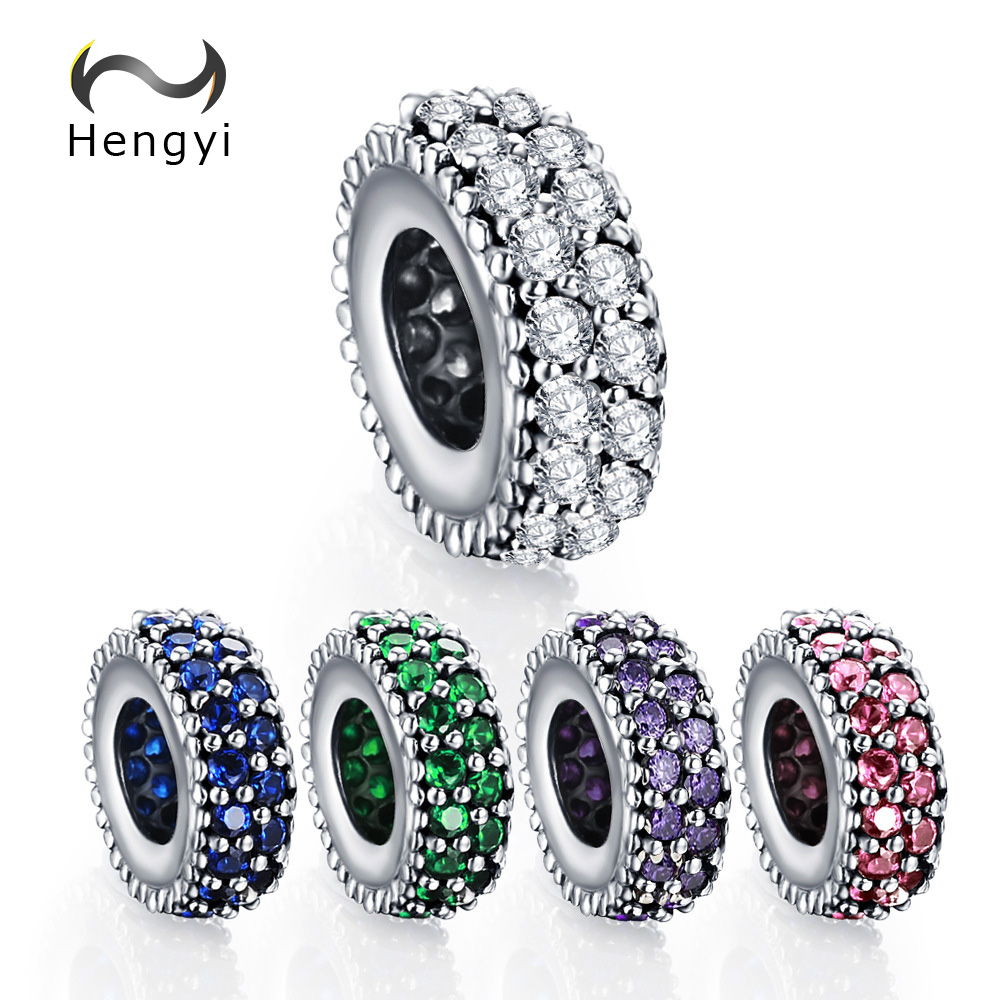 Hengyi Mother's Day DEALS Authentic 925-sterling-silver Inspiration Within Spacer Clear CZ Charm Fit Bracelet DIY Original image