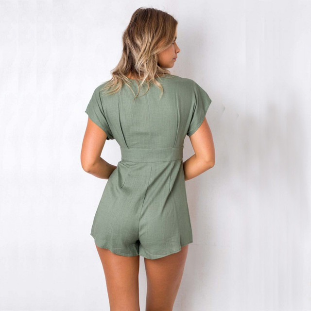 yinlinhe Green Short jumpsuit Women rompers Short Sleeve V neck Sexy Button Playsuit Summer Cotton Linen loose overalls      306 1