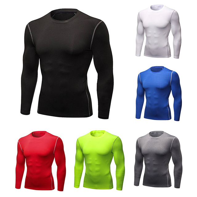 476a7594e3e2e Mens Compression Shirt Fitness T Shirt Bodybuilding Tight Running Long  Sleeves Shirts Sport Suit Workout Gym Fitness Sportswear