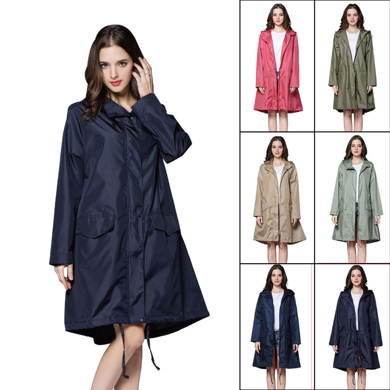 Long Raincoat Jacket Handbag Light-Weight Waterproof Fashion Women High-Quality Ladies