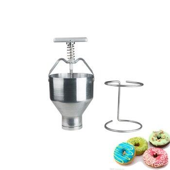 Мини ручная машина для изготовления пончиков из нержавеющей стали, Хоппер для торта и пончика с подставкой, коммерческая Бытовая формовочн...