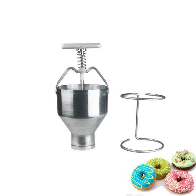 Stainless steel Mini Manual Donut Maker Machine Cake Donut Hopper with Stand Commercial household donut molding machine