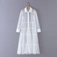 Women Stylish Polka Dot Patchwork Transparent Midi Shirt Dress Long Sleeve Female Chic Sexy Mesh Dresses Vestidos