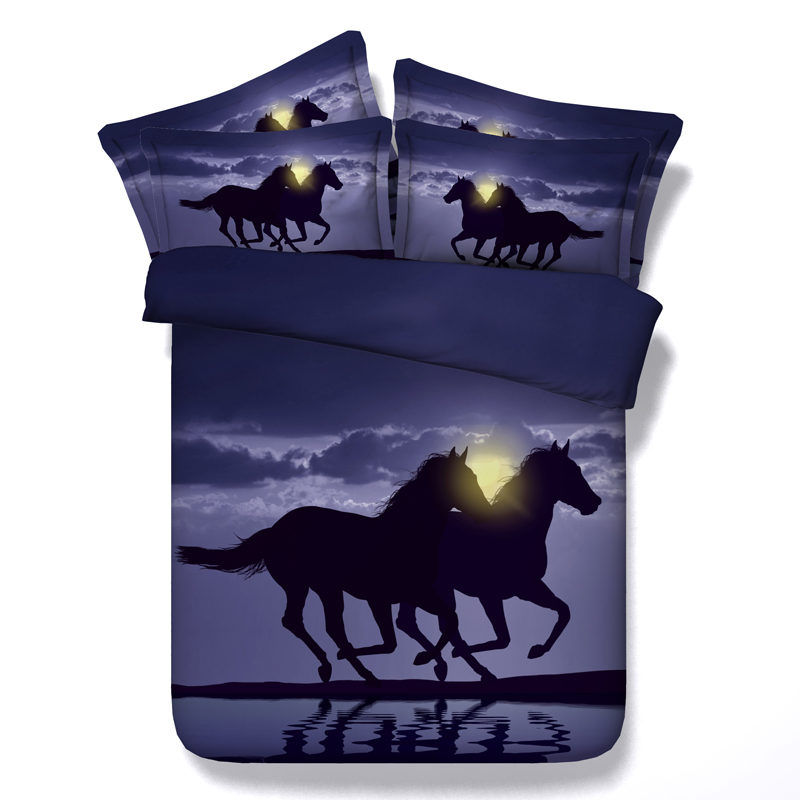 morden 3d horses printed bedding sets queen king single sizes kids bedspreads 3/4pc comforter cover sunset bed linens boy 500tc