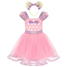 Cute Minnie Mouse Dress 2pcs Baby Kid Girls Clothes Set Polka Dots Birthday Party Ears Headband Costume Tulle