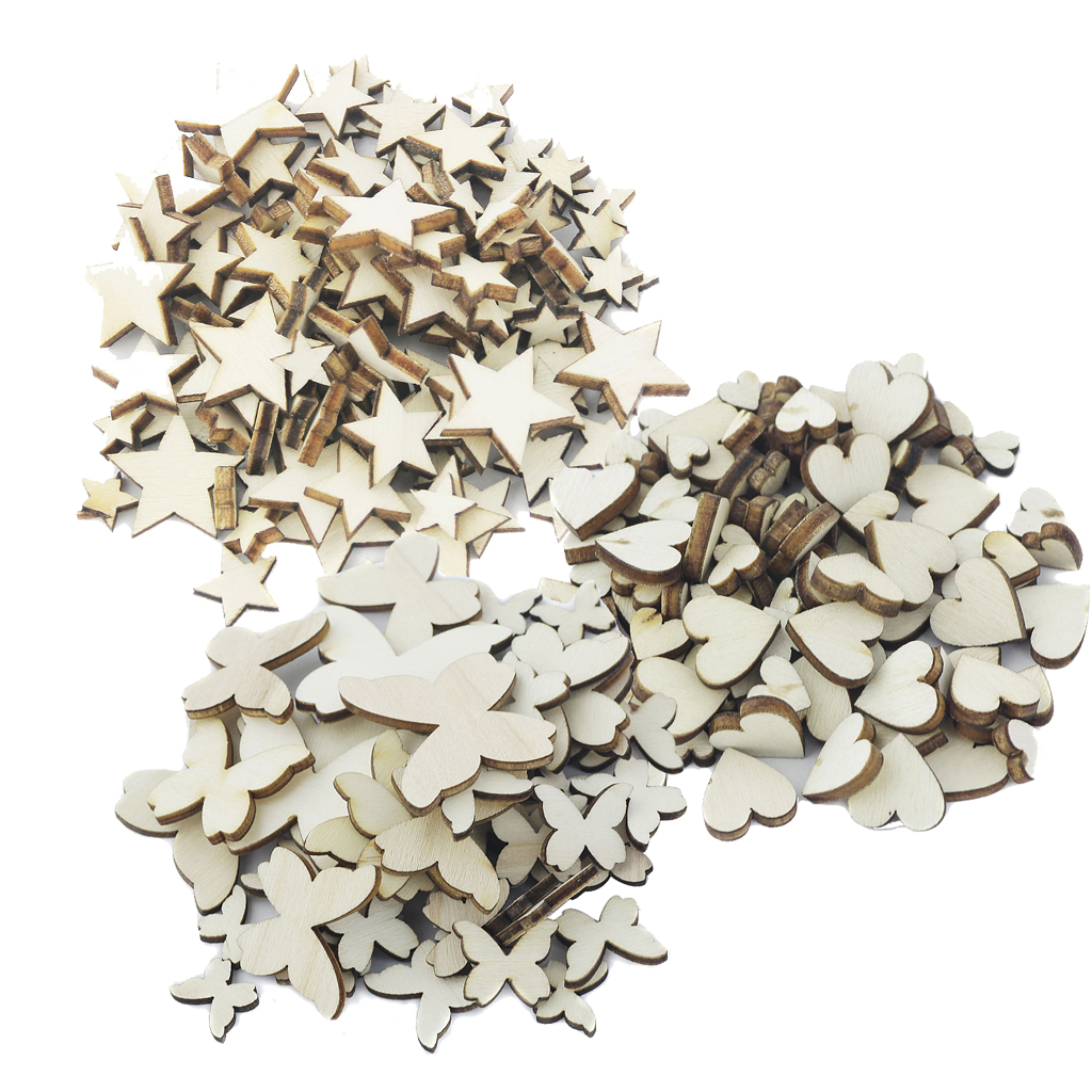 250 Pieces Assorted Size Natural Wood Multi Style Chic Craft Scrapbooking