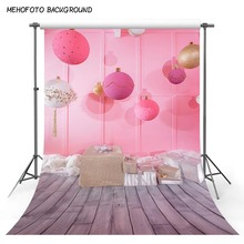 Pink Paper Balls Backdrops for Photography 5x7ft Grey Wooden Floor Photography Background Baby Birthday Photocall Customized 5x7ft kate retro dark wooden photography backdrops children background photography vintage scenic photography backdrops