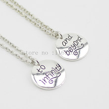 "2015 new style BFF Forever ""To Infinity& Beyond ""silver Pendant best friend necklace Toy Story Necklace Wholesale jewelry 2pcs(China)"