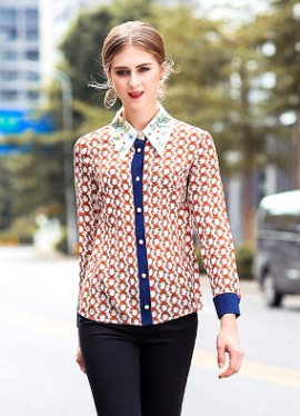 European and American new silk print shirt for spring and 2018 women's wear embroidered shirt