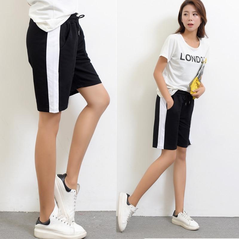 2017 Summer Straight   Pants     Capris   Women Elastic Waist Plus Size Casual   Capris     Pant   Black&Grey Color Loose Knee-Length   Pant   XXL