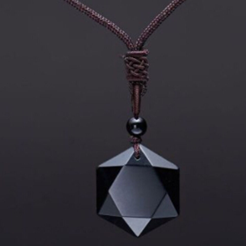 Black Obsidian Natural Stone Pendant Necklaces For Women and Men Cubic Hexagram
