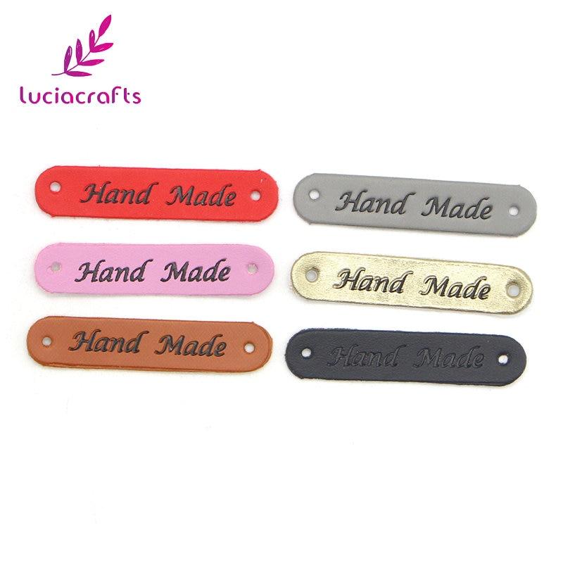 Lucia crafts 18pcs/lot 10*50mm leather Decoration label/ Indentation garment Sign Appliques DIY handmade Materials 082007362