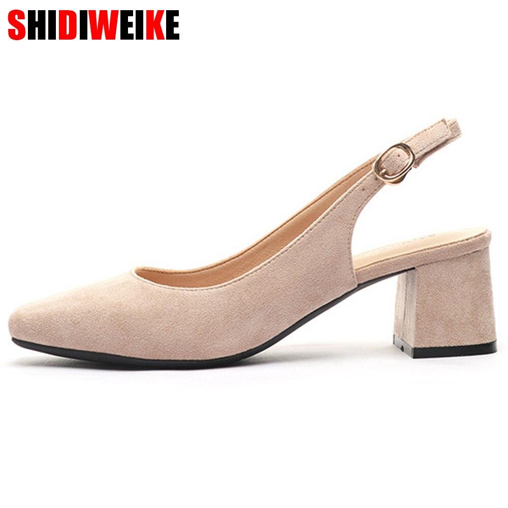 f5a17da1 Nueva primavera verano Zapatos de tacón alto zapatos de mujer 2019 mujer  rebaño correas zapato cuadrado sandalias de las mujeres casuales, zapatos  de boda, ...