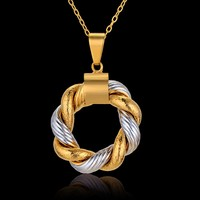 Trend Two Tone Gold Silver Color Circle Round Pendant Necklace For Women Jewelry 2017 Christmas Gift