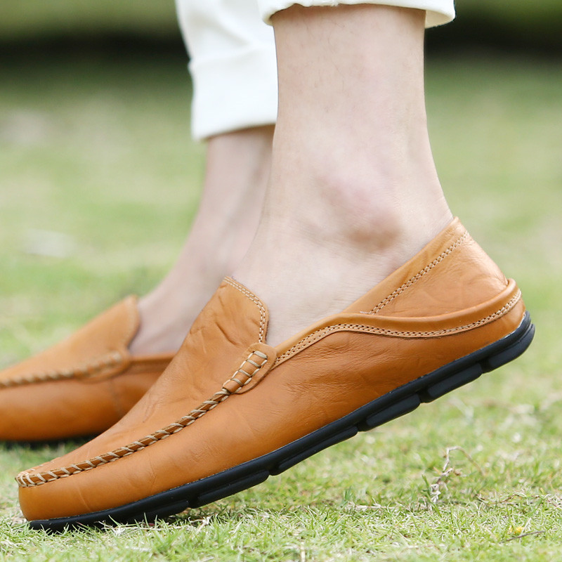 Big Size 38-46 Slip on Casual Men Loafers Spring and Autumn Mens Moccasins Shoes Genuine Leather Mens Flats Shoes New,Black,6.5