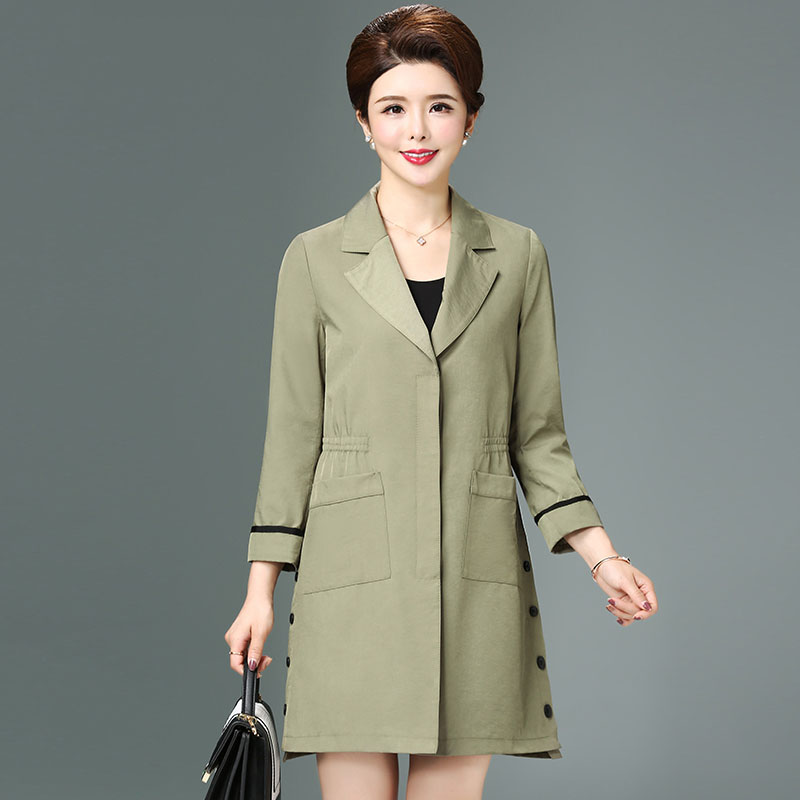 2019 Autumn winter fashion elegant slim trench coat women turn down collar pockets outerwear plus size