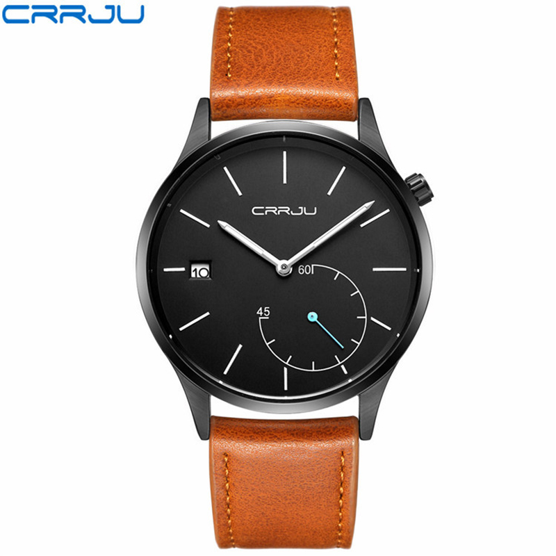 CJ2129 Mens Watches Top Brand Luxury Leather Watches Man Clock with Date Fashion Mens Watches Quartz Brown Band Round Case Shape все цены
