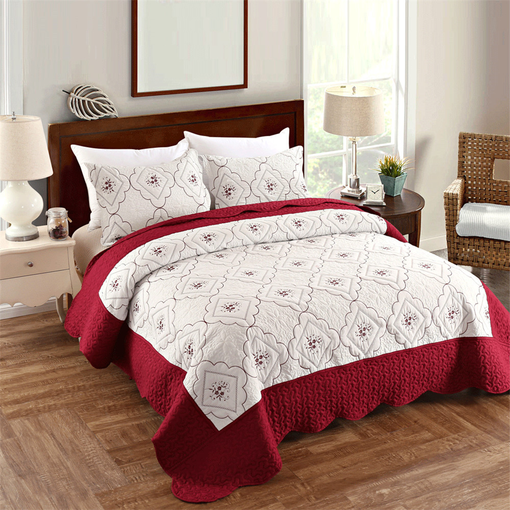 white red patchwork quilt king queen size summer thin comforter embroidery bedspread 3pcs. Black Bedroom Furniture Sets. Home Design Ideas