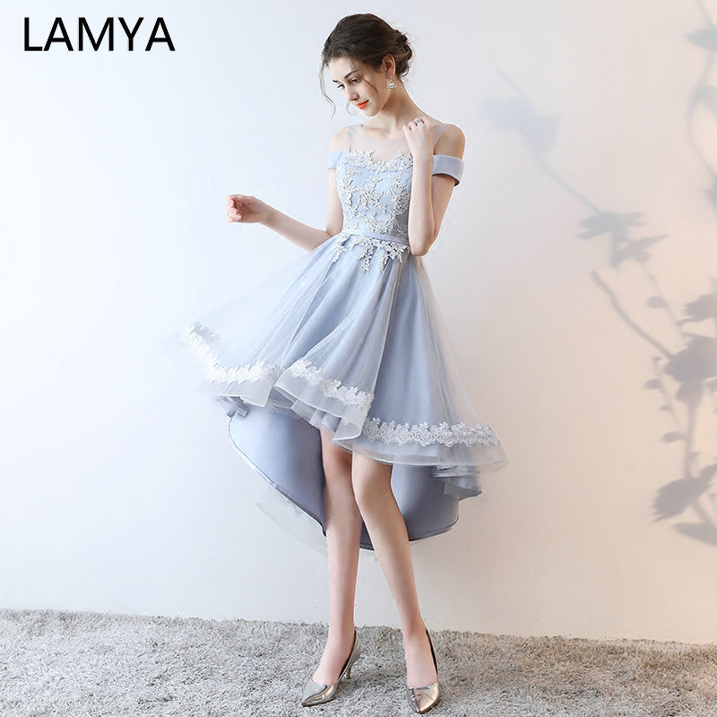 LAMYA Elegant Lace Boat Neck Prom Dresses Short Front Back Long Tail Banquet Evening Dress 2019 Formal Gown Party Gown For Women