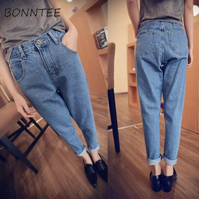 Women New Denim Vintage Pockets Casual Zipper Loose All-match   Jeans   Womens Washed High Waist Trendy Korean Style Soft Trousers