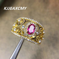 KJJEAXCMY Natural Red Topaz Ring S925 sterling plated 18K gold silver jewelry wholesale jewelry