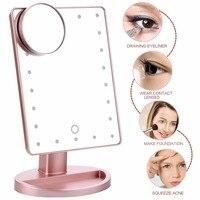 180 Graus de Rotação Espelho de Maquiagem Com Luz Led 10X Espelho de Aumento Com Ventosas Espelho de Maquilhagem Luz Acessórios de Maquiagem