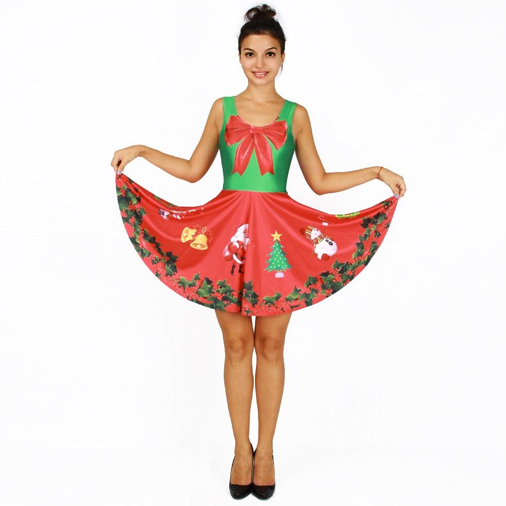 Women Dress Cute Printed Popular Elastic Women Christmas ...