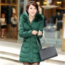 Новый зимний теплый толстый Меховой воротник длинная хлопка-ватник женщин среднего возраста тонкий с капюшоном плюс размер 4XL хлопок куртка пальто AE905