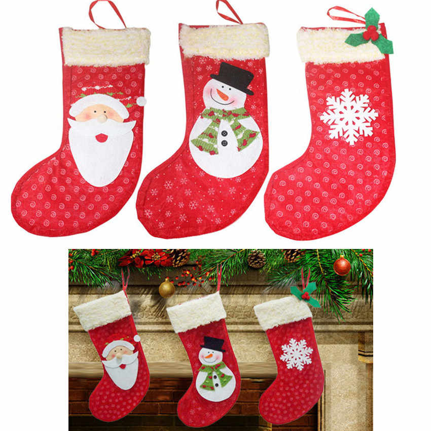 1pcs Christmas Stockings Mesh Socks Gift Candy Bag Xmas Tree Decorations  Festival Party Ornament Santa Claus Snowmen 40%off