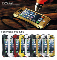 Love Mei Waterproof Shockproof Rugged Tempered Gorilla Glass Small Waist Aluminum Metal Case Cover Shell For