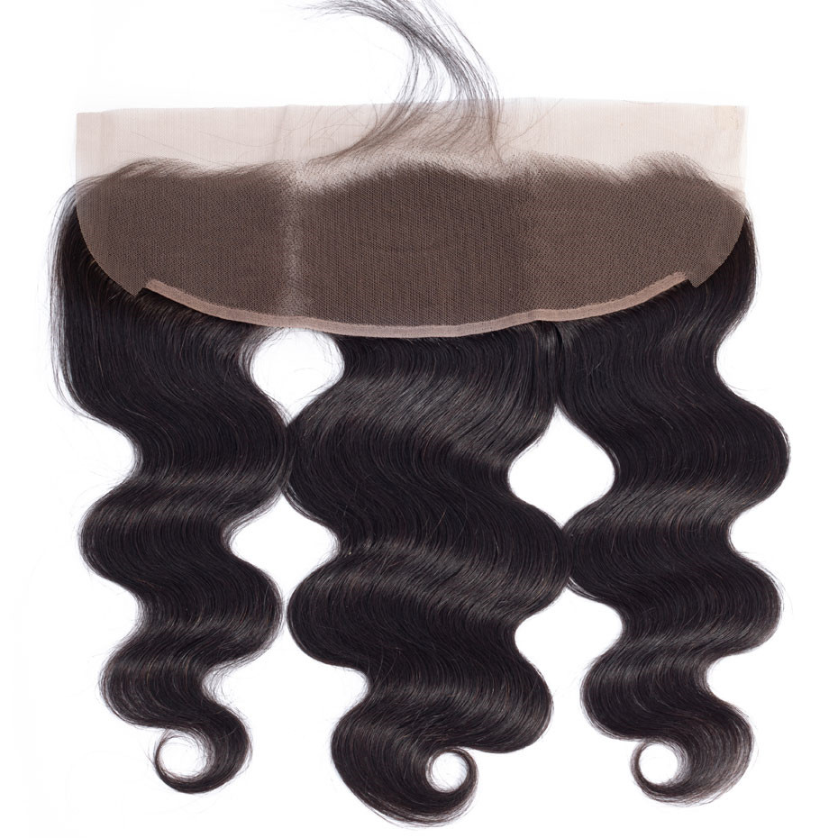 Ear To Ear Brazilian Body Wave Human Hair 13x4 Lace Frontal Natural Color 10 To 22 Inch 130% Swiss Lace Closure Clover Leaf
